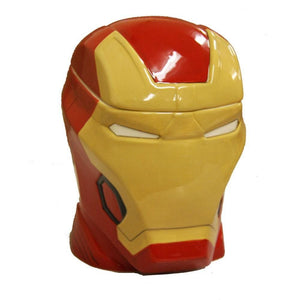 Lidded cookie jar shaped like Iron Man's head