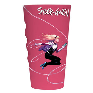 Side view of Spider Gwen pint glass