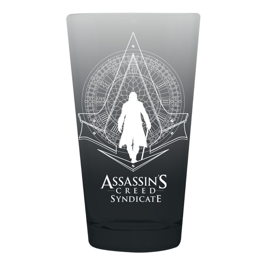 Grey pint glass with Assassin's Creed Syndicate logo