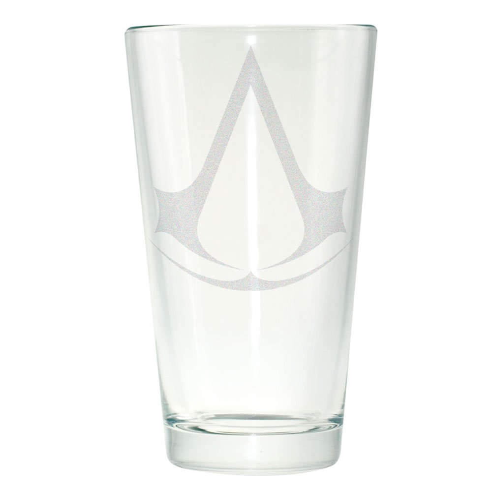 Clear glass pint featuring logo for Assassin's Creed