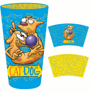 Cat Dog pint glass with print inside