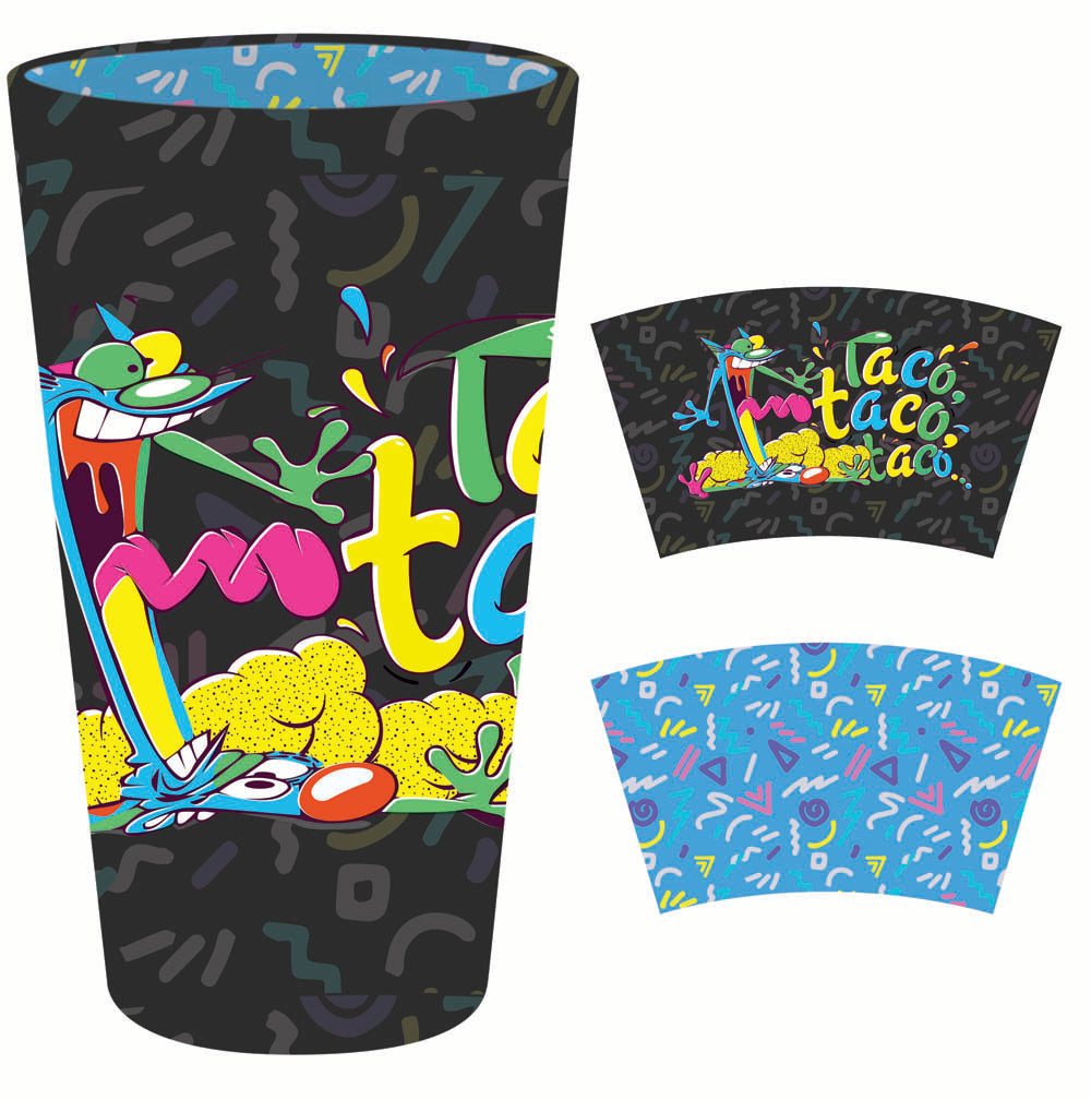 Nickelodeon pint glass with print inside