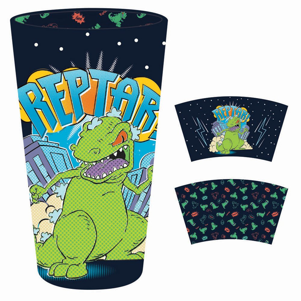 Pint glass featuring Reptar from Rugrats with inside print