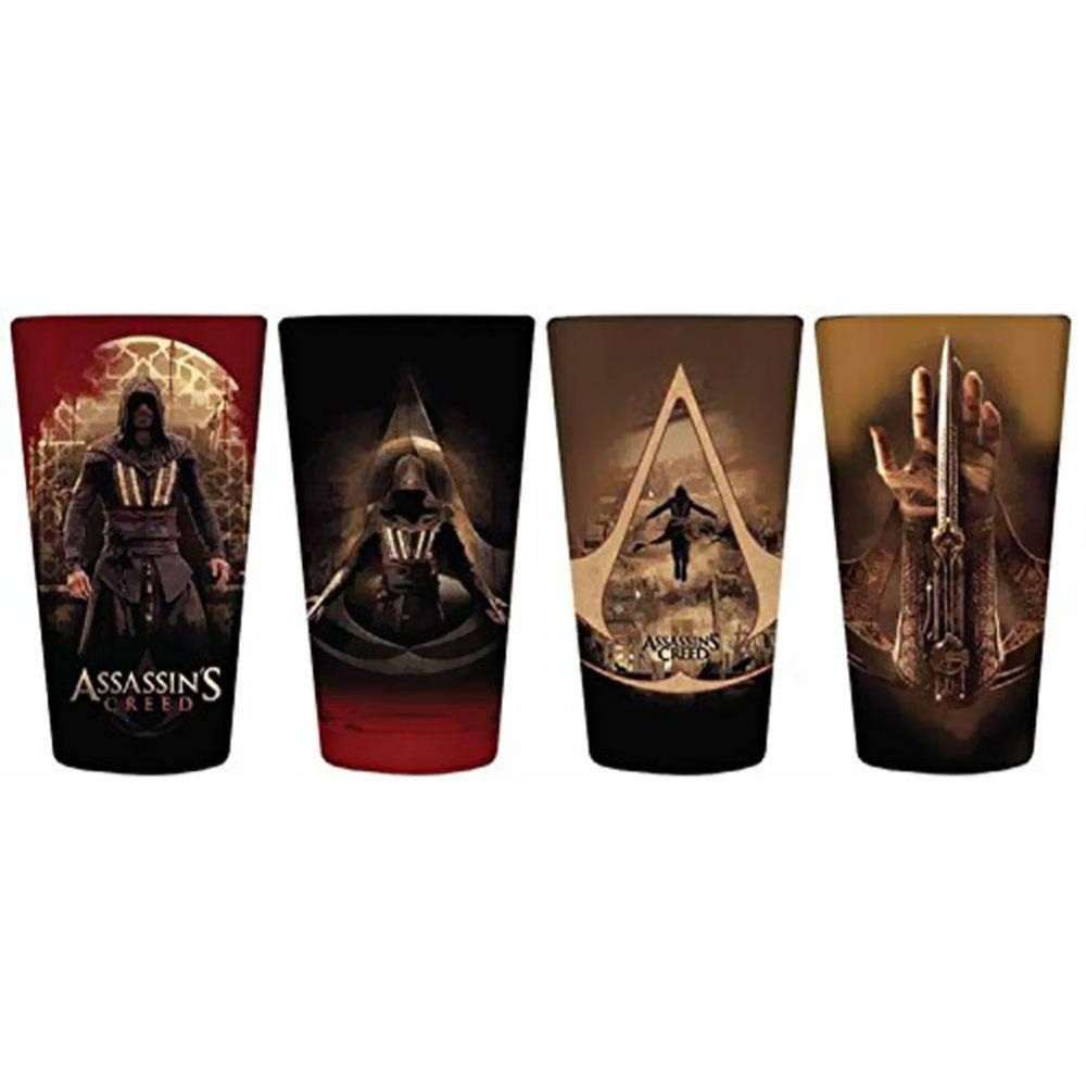 Set of four pint glasses with Assassin's Creed graphics