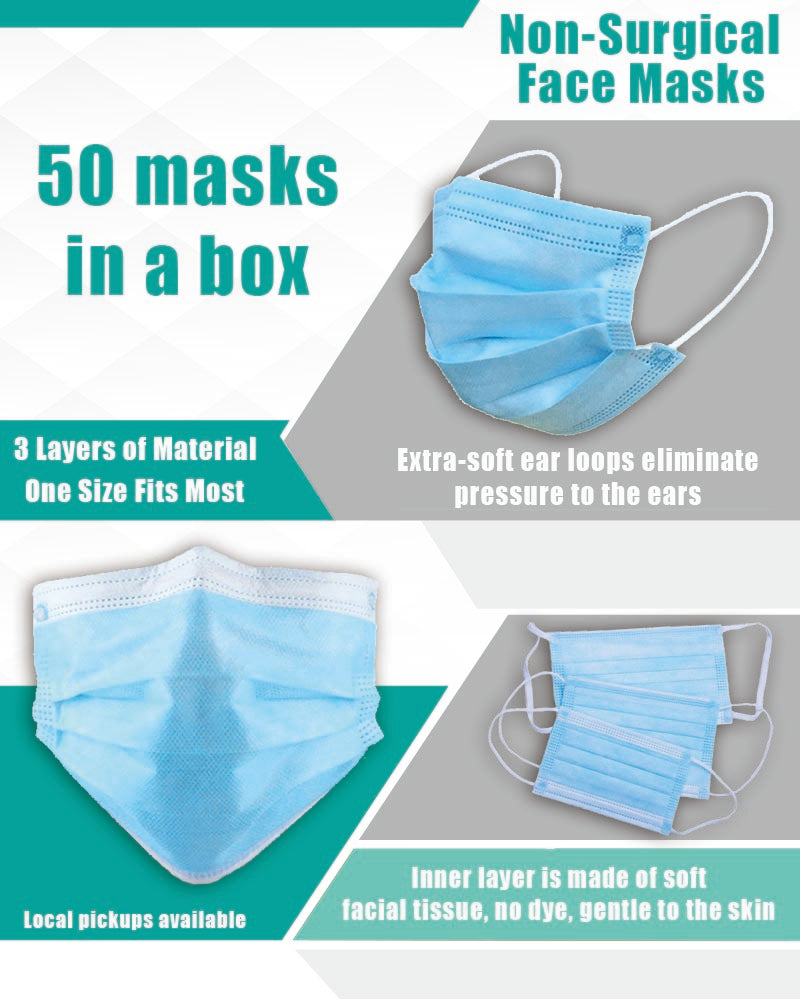 Graphic for set of 50 disposable face masks with ear loops