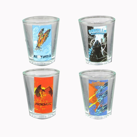 Set of Four Godzilla monsters shot glasses