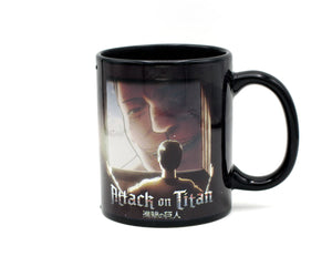 Graphic from Attack on Titan displayed on heat changing coffee mug