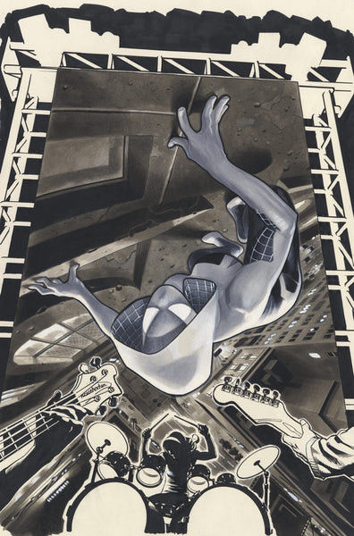 Spider-Gwen # 1 SIGNED by Adam Hughes CONQUEST COMICS Exclusive B&W Variant w/ COA