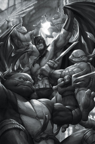 BATMAN / TMNT Teenage Mutant Ninja Turtles # 1 Artgerm CONQUEST COMICS Exclusive B&W Variant