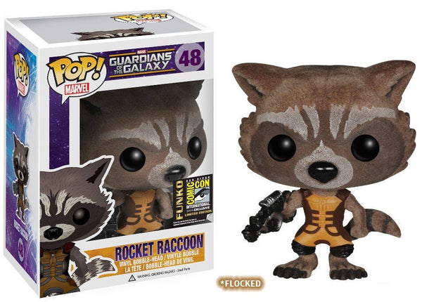Marvel Comics Guardians of the Galaxy FLOCKED ROCKET RACCOON Funko Pop SDCC Exclusive