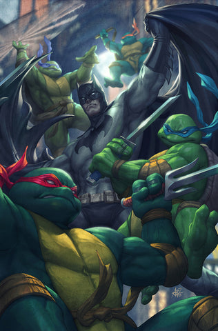 BATMAN / TMNT Teenage Mutant Ninja Turtles # 1 Artgerm CONQUEST COMICS Exclusive Variant Set COMBO 3 PK (Color,B&W,Hybrid) + Eastman 1:50 Variant