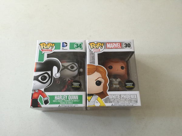 SALE!!! Random Pop PLUS + Conquest Comics Exclusive Combo Pack METALLIC HARLEY QUINN & WHITE & GOLD PHOENIX Funko Pop