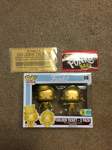 WILLY WONKA & OOMPA LOOMPA GOLDEN TICKET 2 Pack 4/10 Funko Pop