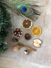 A selection of wreath materials including dried fruits, cinnamon and pine.