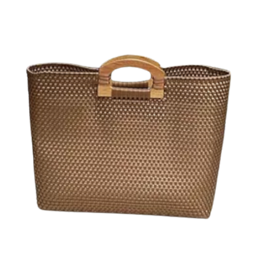 Leila Gold Wood Handles Bag