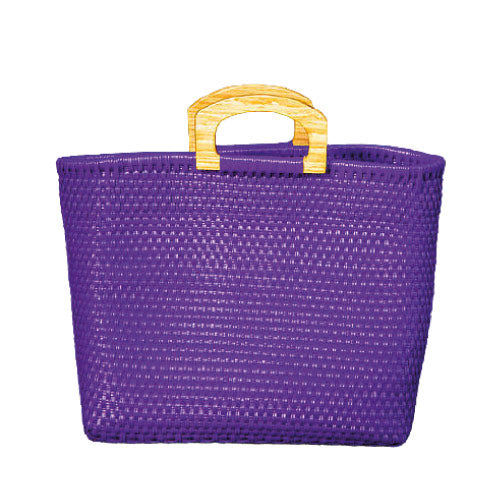 Leila Purple Wood Handles Bag