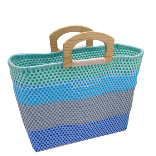 Leila Blue Green Waves Wood Handles Bag