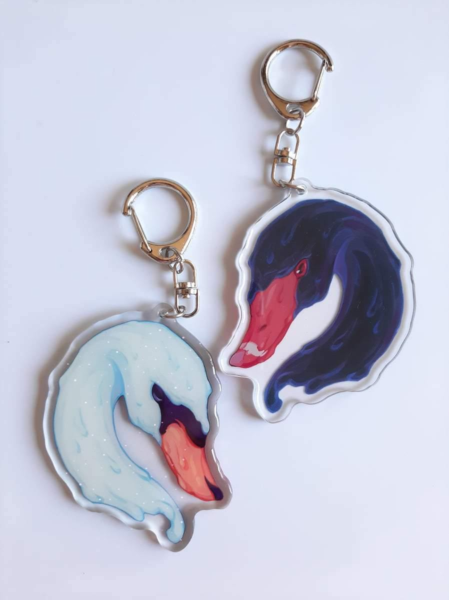 Black & White Swan: Acrylic Keychain - Art of Tangmo