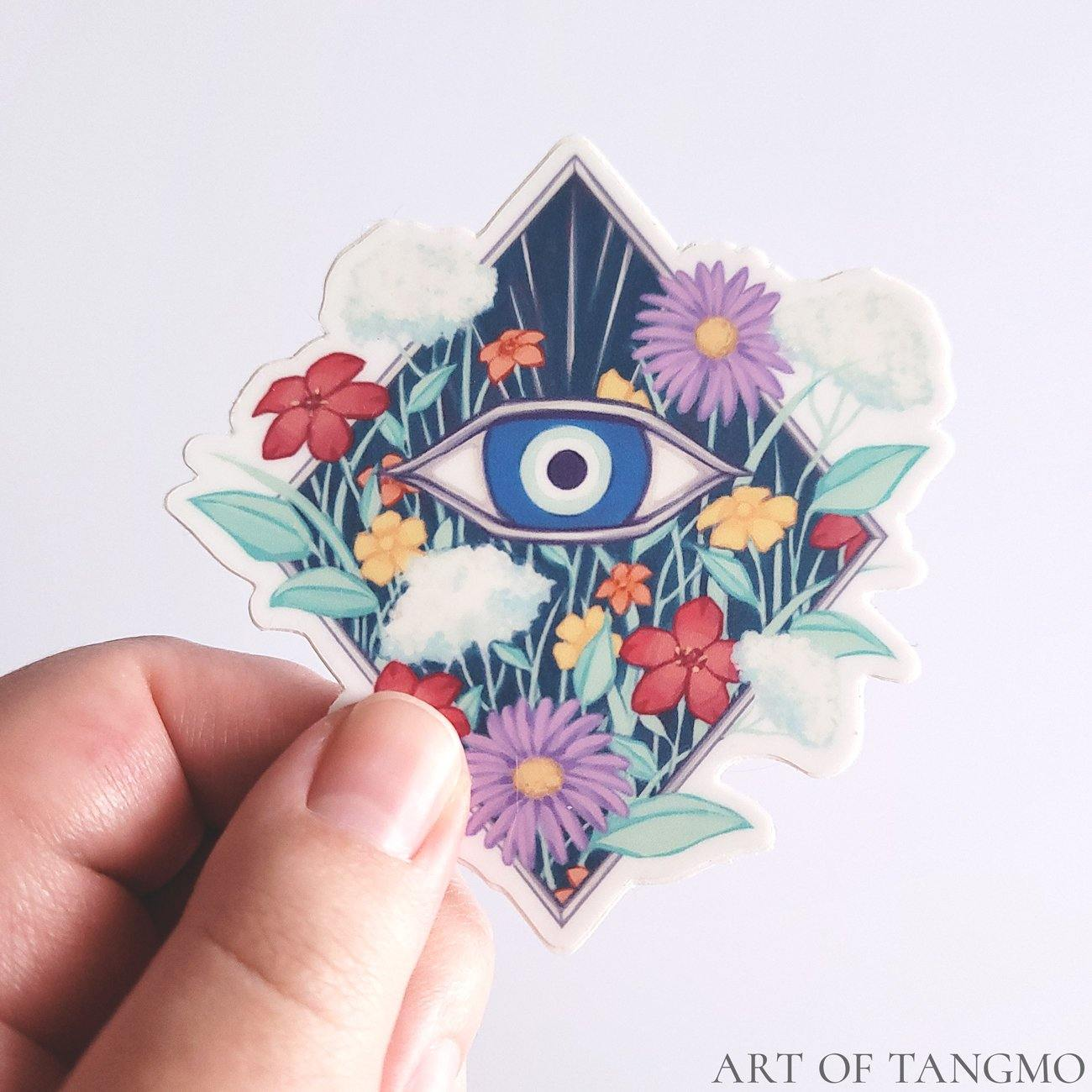 Evil Eye Bouquet Vinyl Sticker - Art of Tangmo