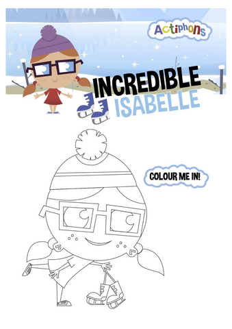 Incredible Isabelle colour me in activity sheet