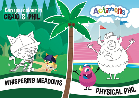 Craig and Phil colour me in activity sheet
