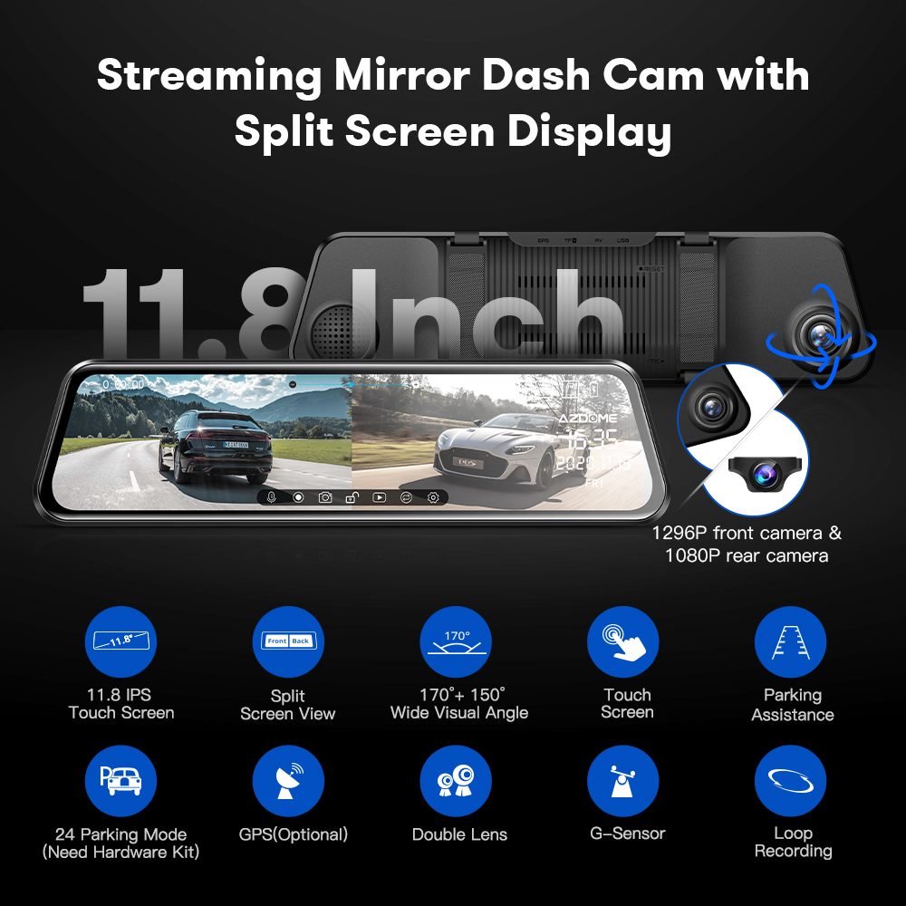 AZDOME PG17 Streaming Mirror Dash Cam with Split Screen Display