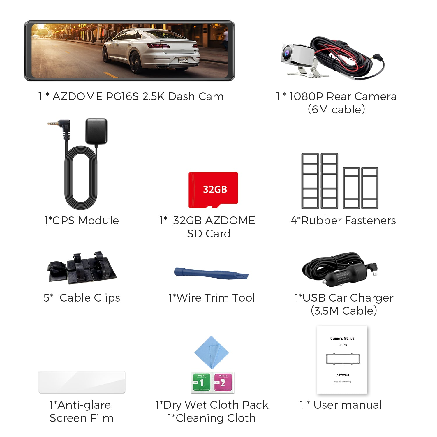 AZDOME PG16S Package Specification
