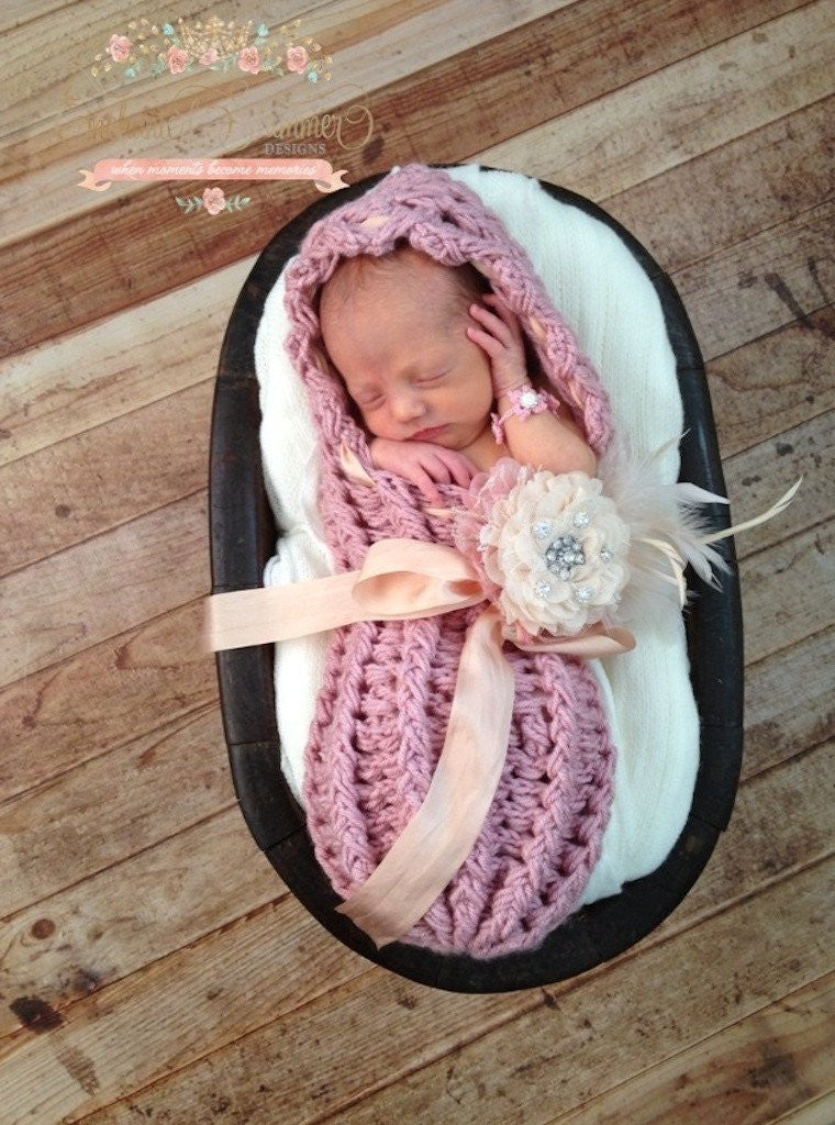 Heirloom Newborn Dusty Rose Cocoon with Ivory Silk Ribbon