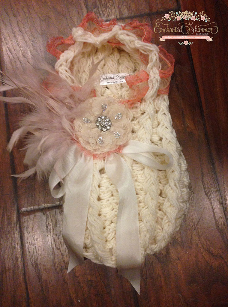 Ivory with Lace & Rose Baby Girl Cocoon