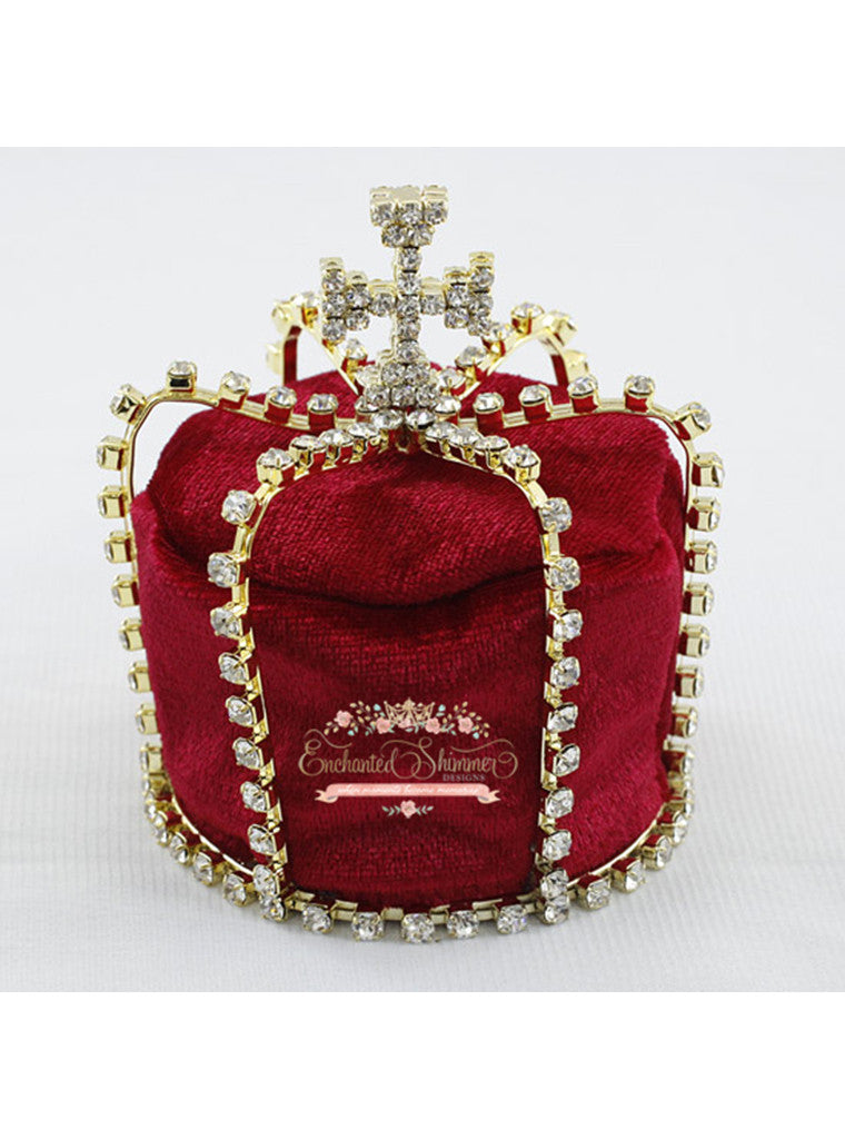 "Gold ""King Edward"" Crown with Red Velvet"