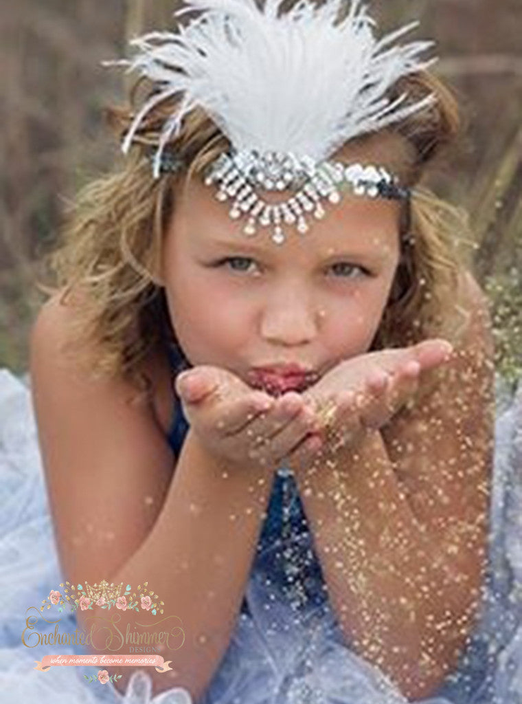 Silver Sequin Feather Headband