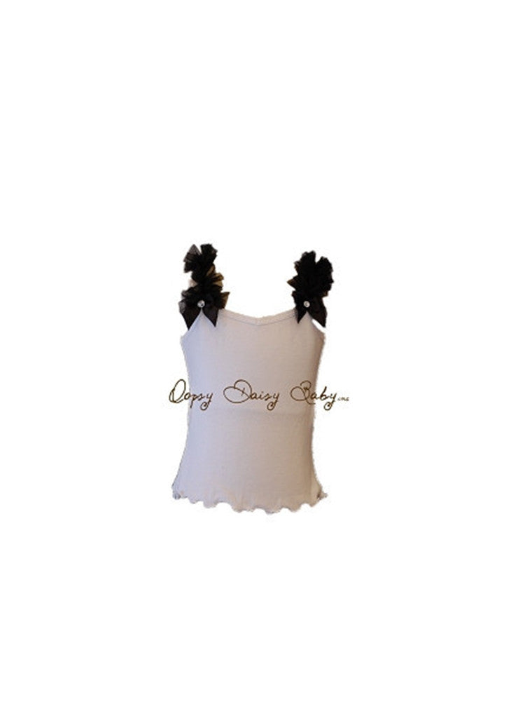 White Tank with Black Ruffle