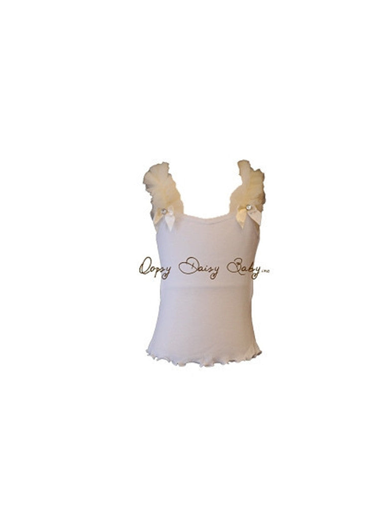 White Tank with Ivory Ruffle