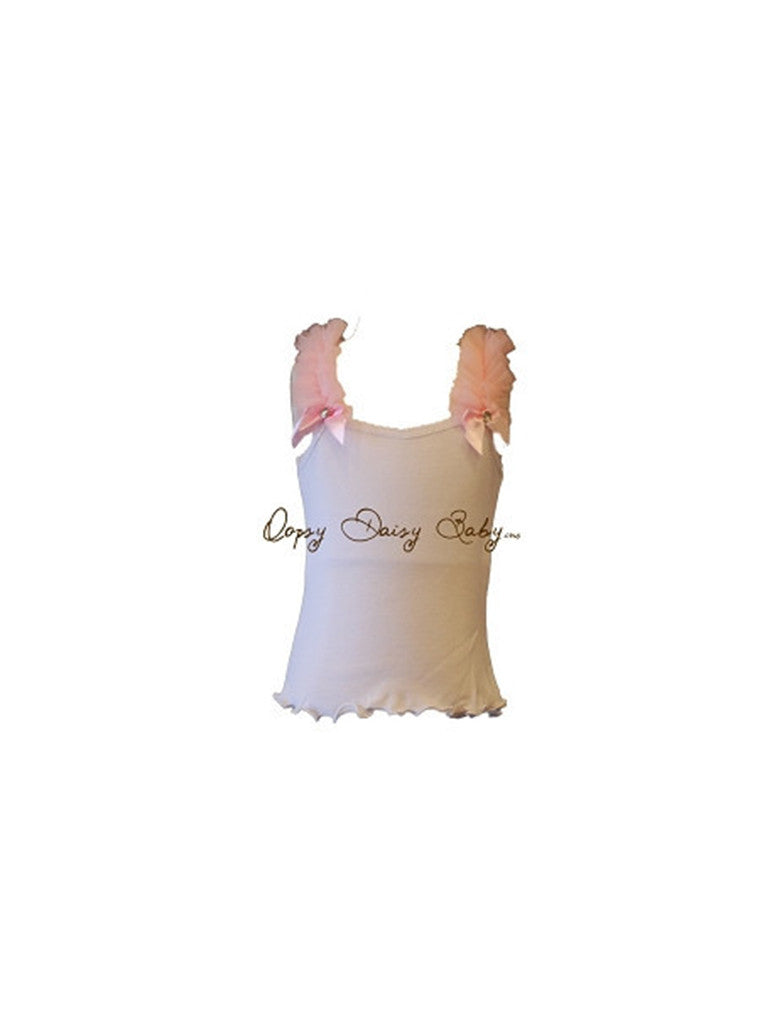White Tank with Pink Ruffles
