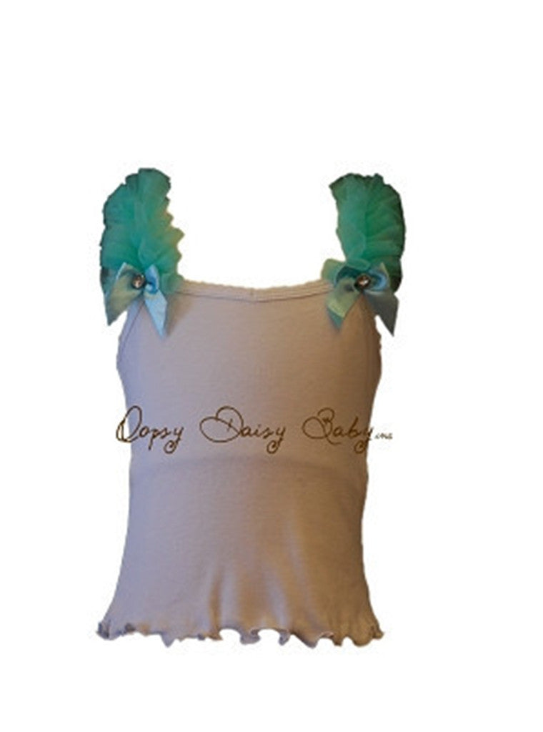 White Tank with Turquoise Ruffle