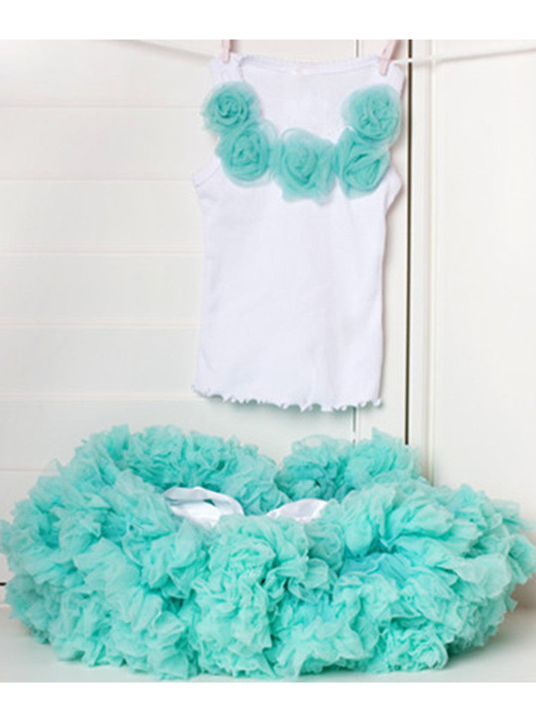 White Top with Turquoise Rosettes