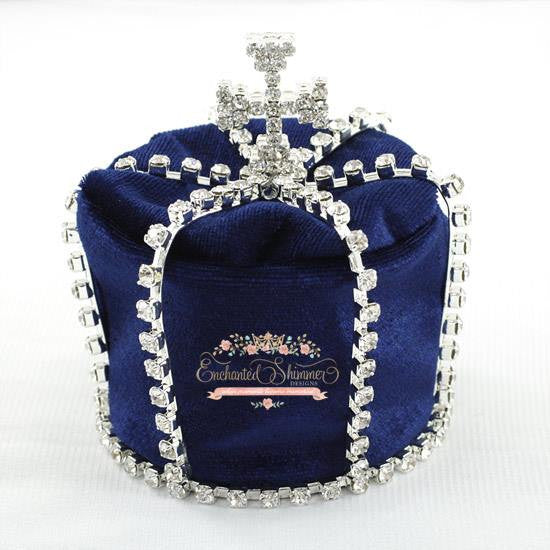 "Silver ""King Edward"" Crown with Blue Velvet"