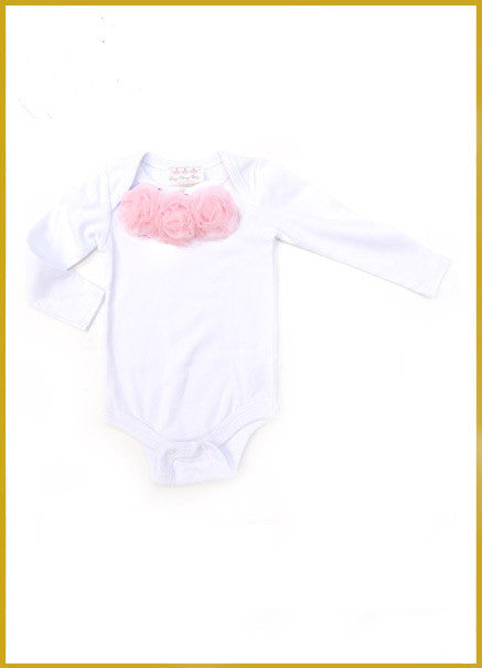 White Long Sleeve Onesie with Pink Rosettes