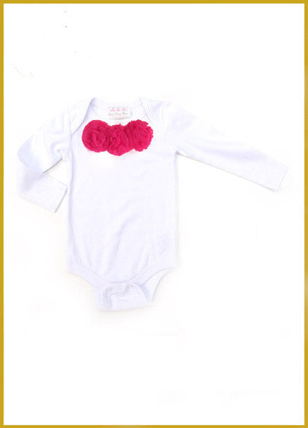 White Short Sleeve Onesie with Raspberry Rosettes