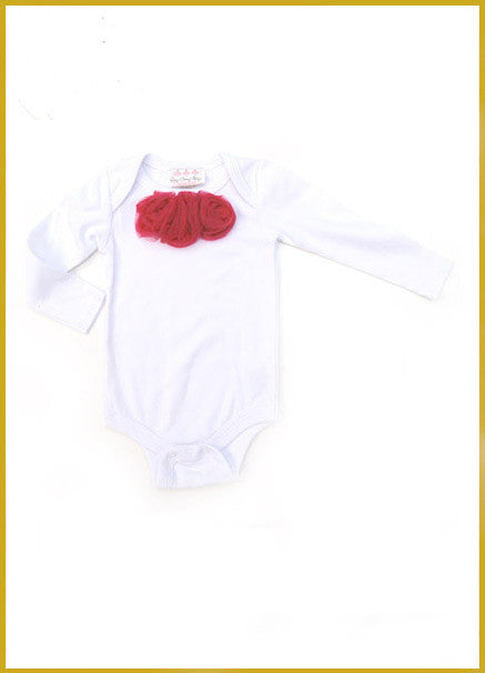 White Long Sleeve Onesie with Red Rosettes