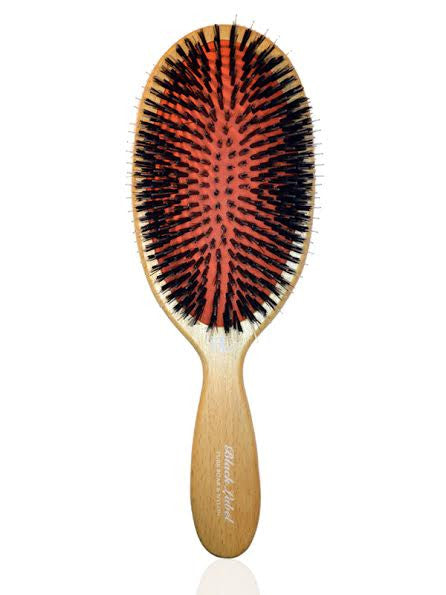 BrushLab Black Label Pure Boar Nylon Wooden Hair Brush
