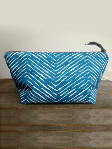 Frankie & Coco PDX Handmade Teal Chevron Cosmetic Bag