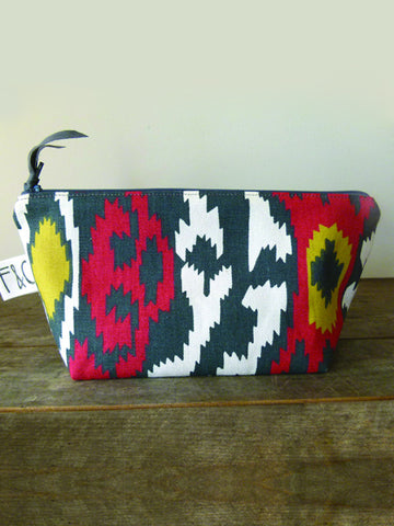 Frankie & Coco PDX Handmade Red & Gray Ikat Canvas Cosmetic Bag
