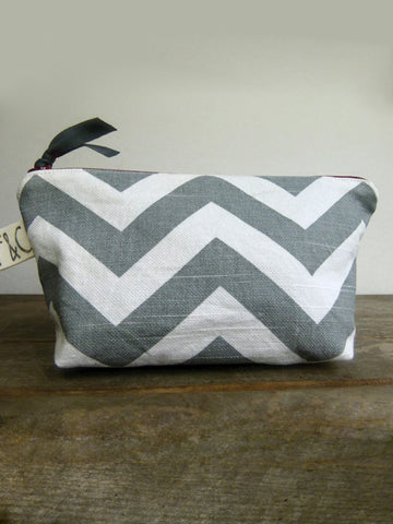 Frankie & Coco PDX Handmade Gray Chevron Cosmetic Bag