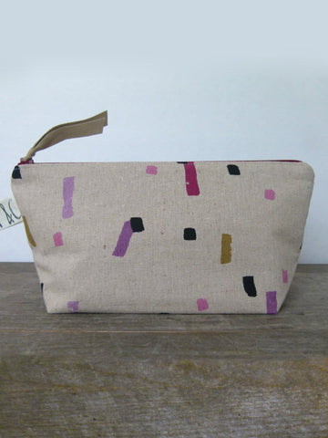 Frankie & Coco PDX Handmade Abstract Linen Cosmetic Bag