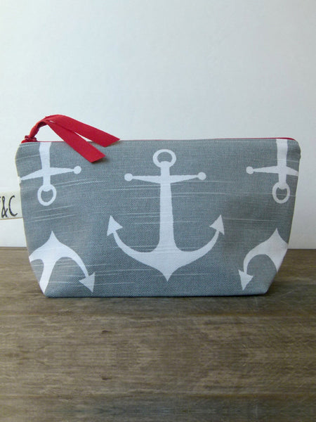 Frankie & Coco PDX Handmade Grey Anchors Canvas Cosmetic Bag