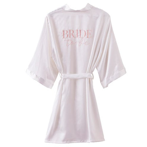 White Bride to Be robe with pink embroidery