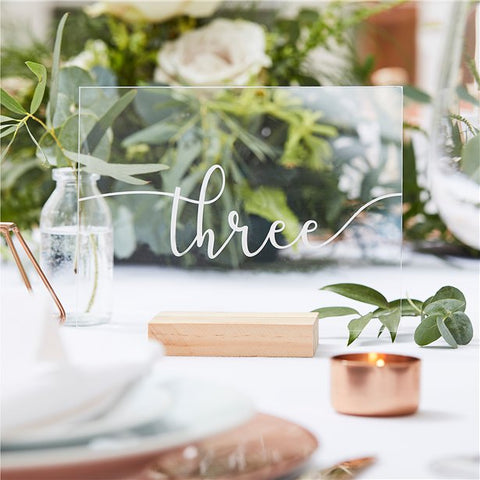 acrylic table number in wooden block