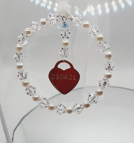 bouquet charm with engraved sterling silver heart