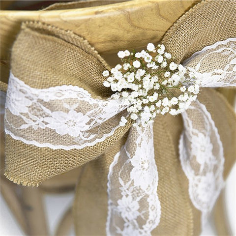 hessian chair sash with lace